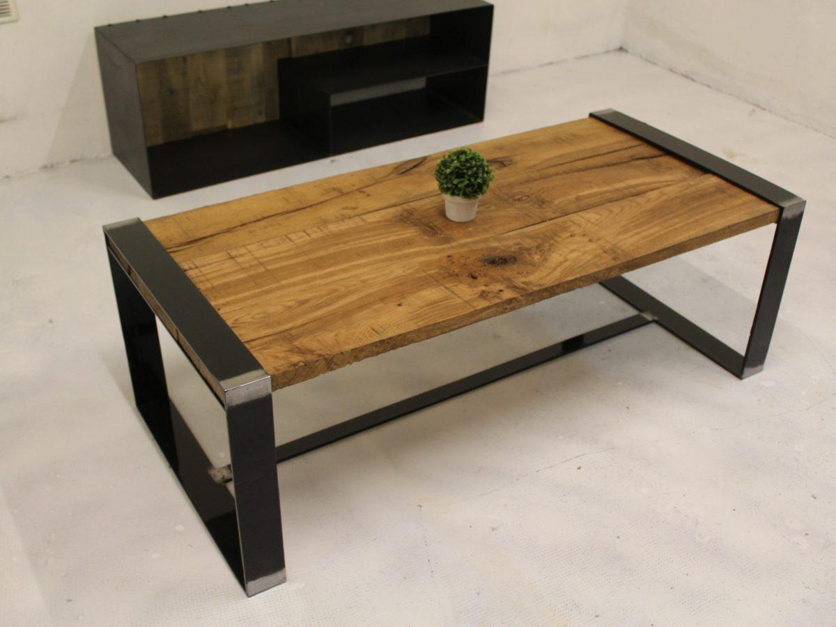 table basse acier chêne